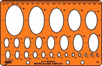 HELIX ELLIPSE TEMPLATE TEMPLATE STENCIL - 26 Ellipses from 2mm to 50mm